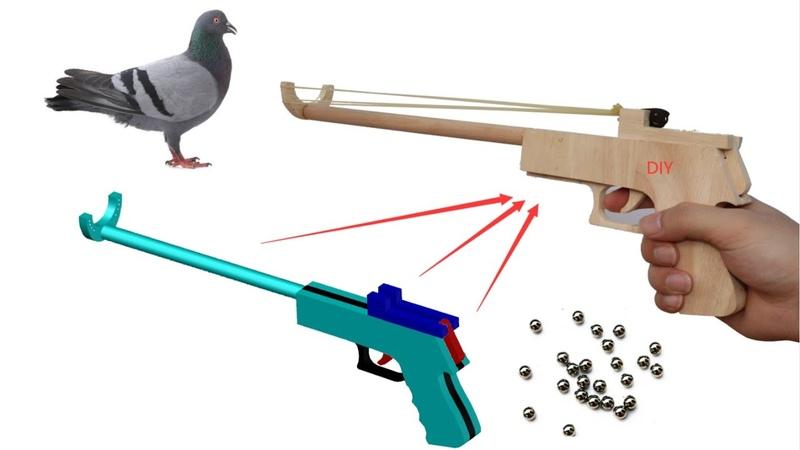100% learn to make wood gun steel ball gun rubber band steel ball gun free drawings