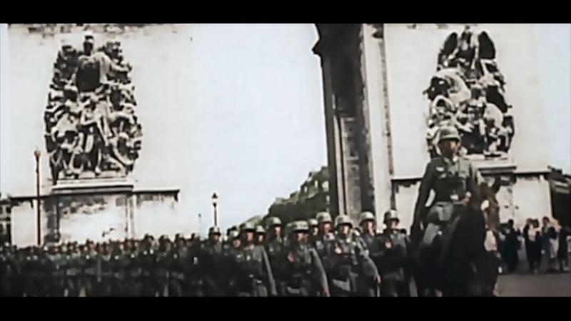 第二次世界大戦 ドイツ占領下のパリ カラー映像