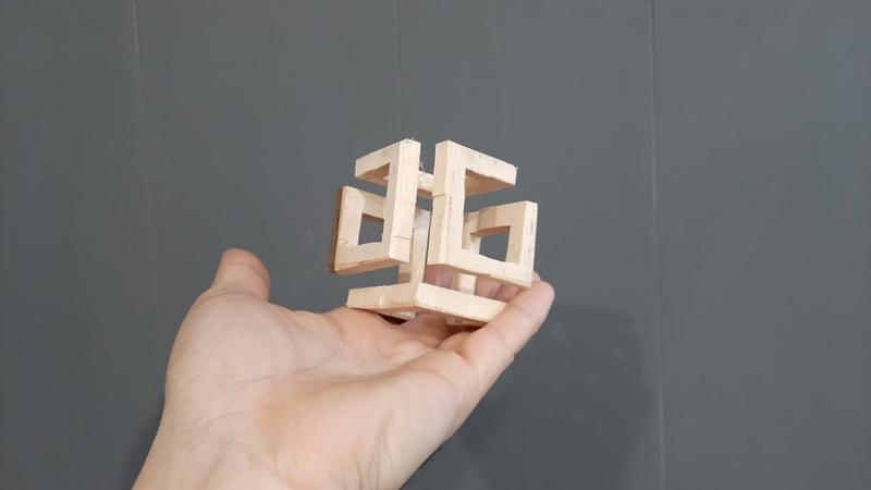 Прямой эфир Геометрическая из дерева Куб из Квадратов