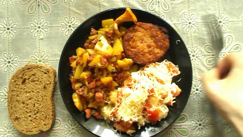 Картошка с грибочками и жаренным луком в соусе Potatoes with mushrooms and fried onions in sauce