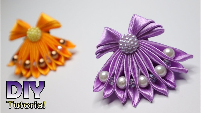 DIY How to make Kanzashi Little Dress Cara membuat bros gaun Bros Unik Lucu Satin ribbon