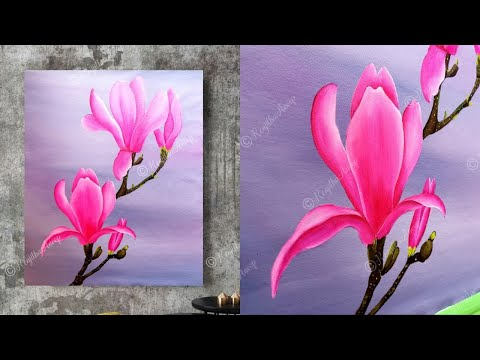 Acrylic painting tutorial painting large canvas art paint magnolia flower painting