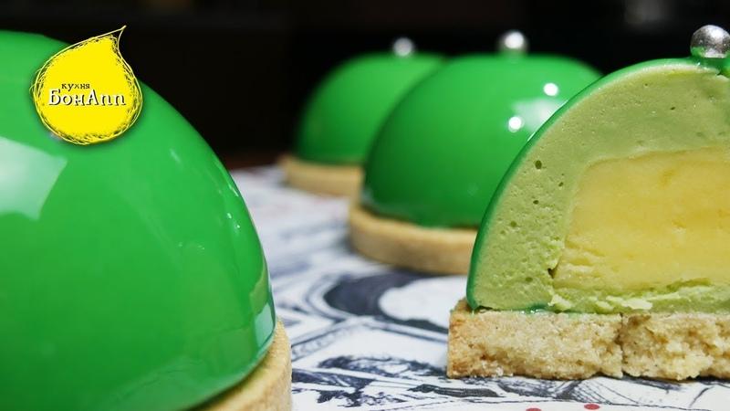 Пирожное с фисташковым муссом и лимонным курдом в зеркальной глазури