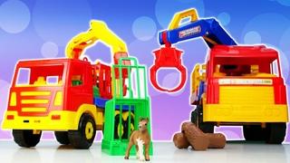 Spielzeug Video für Kinder. Wir füttern die Tiere. Tolle Spielzeugautos.