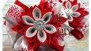 Новогодние бантики со снежинками канзаши Мастер-класс