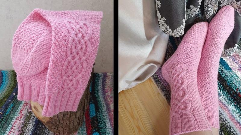 Носки спицами с прямой пяткой и араном Очень подробный МК Ч 1 Вступление и Вяжем манжет