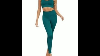 REX Women's Workout Outfit 2 Pieces Seamless Yoga Leggings with Sports Bra Gym Clothes Set