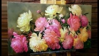 #58 Как НАРИСОВАТЬ ПИОНЫ маслом. Цветы маслом   How to Paint Peonies. Flowers Oil Painting