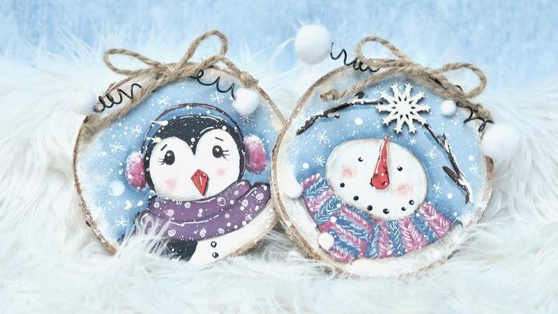 Ręcznie malowane obrazki świąteczne świąteczny bałwanek i pingwin DIY tutorial