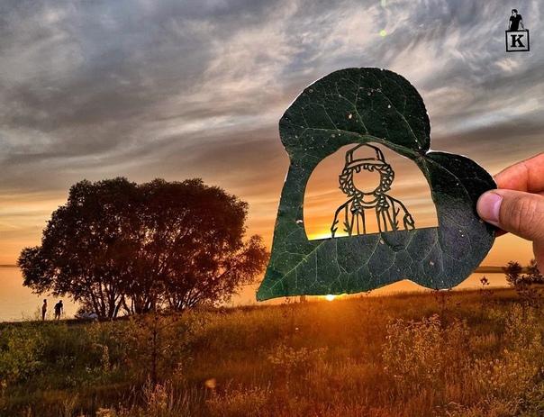 Работы известного в Казахстане художника Каната Нуртазина, создающего настоящие шедевры из опавших листьев