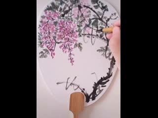 Видео-уроки по рисованию глицинии в стиле китайской живописи гохуа стиль