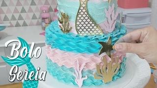 BOLO TEMA SEREIA DE 2 ANDARES VERDADEIROS / TÉCNICA COM O BICO 124 / WAVE CAKE / PARIS CAKE DESIGNER