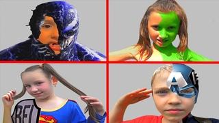 She Hulk, Venom, Superwoman, Captain America superheroes transformation