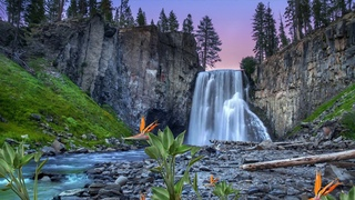3 HOURS of WATERFALL Nature Sound with Light Background  Music for RELAX, STRESS RELIEF, and SLEEP