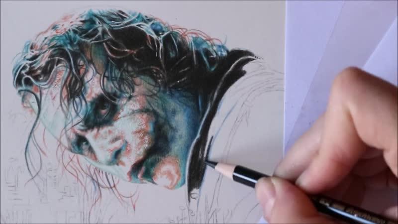 Часть 1 Рисование плаката Готэм сити Джокер Хит Леджер