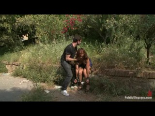 Spanish Hottie gets Throat Fucked on the Street Bound in front of a busy cafe! (PUBLIC DISGRACE/KINK/COM) (13/01/12)