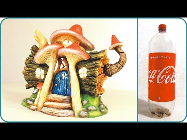 DIY Log Fairy House Lamp Using a Coke Plastic Bottle