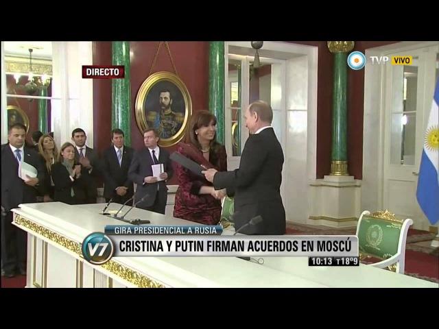 Cristina Kirchner y Vladimir Putin firmaron acuerdos bilaterales