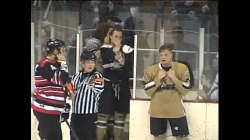 Epic FHL Bench Brawl Coaches Fight 1 11 14 Danville vs Watertown