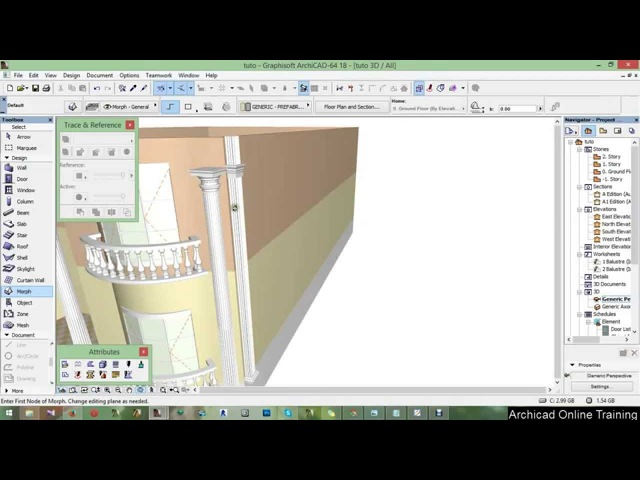 Part 9 - Side column trunc and head - ArchiCAD 18 tutorial 2015 A to Z ( Full HD)