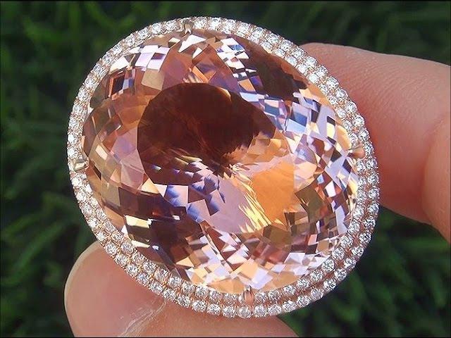 Worlds Largest GIA Certified VVS1 Pink Morganite Diamond 18k Rose Gold Vintage Estate Ring - A336