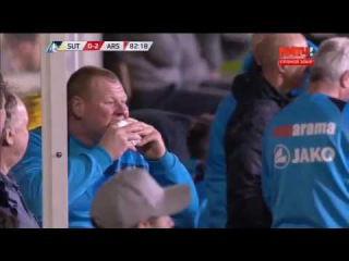 Sutton Vs Arsenal 0-2 - Reserve Goalkeeper Wayne Shaw Eating A Pie From The Bench - February 20 2017