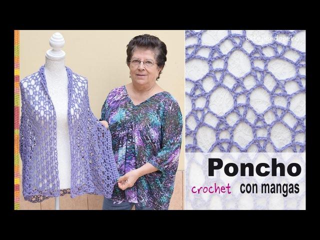 Poncho con mangas en tejido recto a crochet Tejiendo Perú