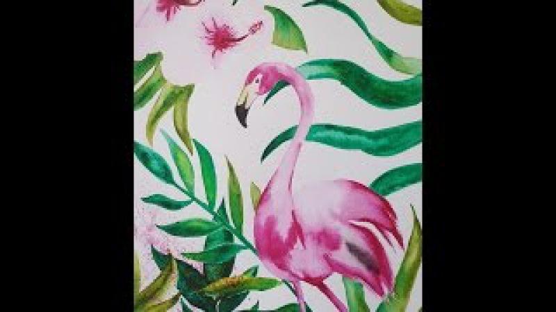 FlamengoColors - Flamant Rose Aquarelle