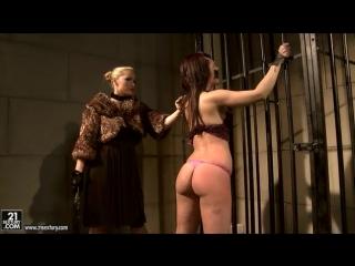 Bondage with woman in fur coat