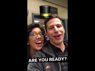 Andy Samberg and Stephanie Beatriz on the Brooklyn 99 Instagram Story - April 7, 2017
