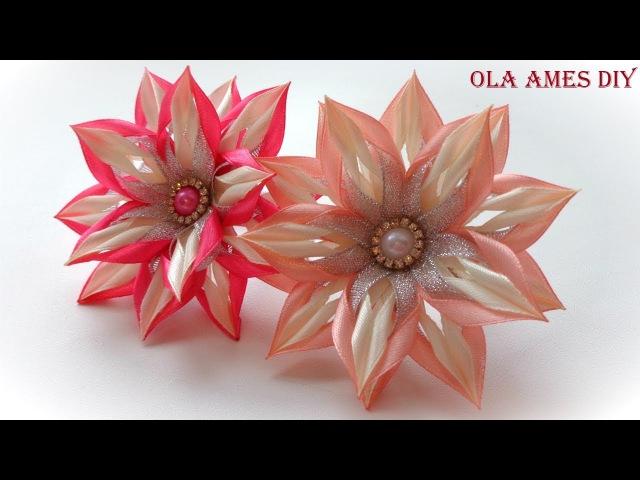 Цветы канзаши из узкой ленты/ Kanzashi Flower Tutorial/ Flores de fitas/ Ola ameS DIY