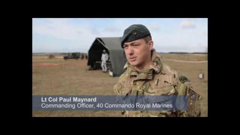 Dstl's Jav Jaffer Lt Col Paul Maynard CO 40 Cdo talking about Ex Toxic Dagger