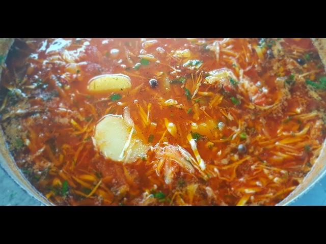 Настоящий цыганский таборный борщ с пышками на костре Gipsy cuisine