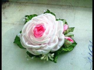 Заколка с розой канзаши: МК\DIY roses and buds of ribbons