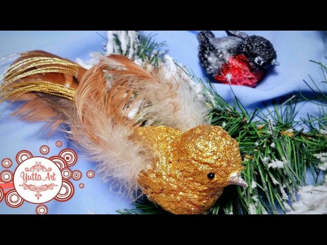 Новогодние птички из папье маше Как сделать папье маше Украшение на елку