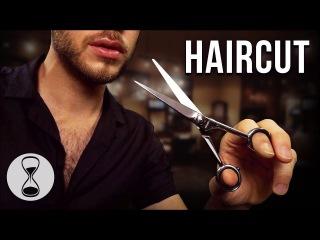 ASMR HAIRCUT ROLEPLAY   Scissors, Comb, Hair Wash, Head Massage & Male Whispering (Binaural)