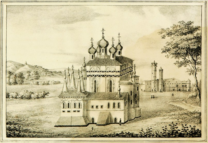 Вид собора с южной стороны. Литография 1845 года из книги И.И. Пушкарева Описание Вологодской губернии.