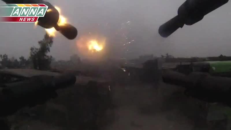 «Сирия» «Профилактические работы» - из «ЗПУ-4» по террористам«по огневым позициям» «Джобар»