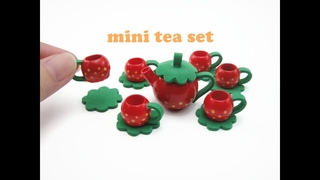 DIY Miniature Doll Mini Strawberry Tea Set - Easy !