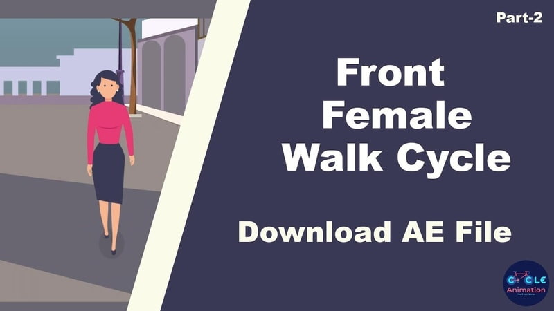 Front Female Walk Cycle using After Effects Tutorial part - 02