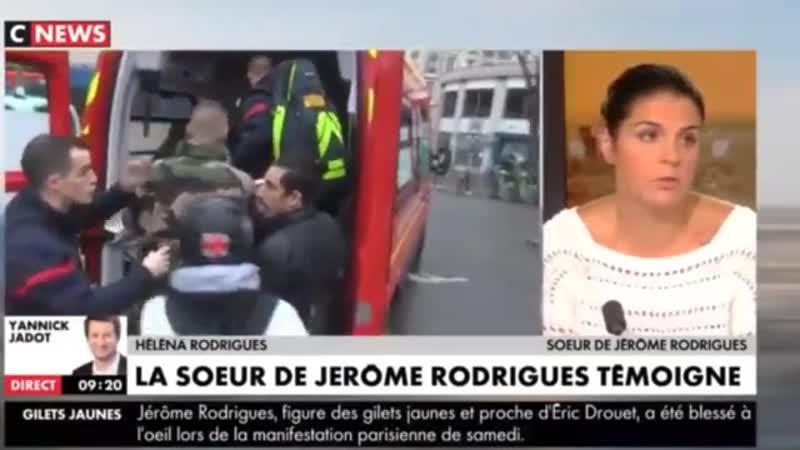 GJs - Tir délibéré sur Jérôme Rodrigues - Sa sœur témoigne...