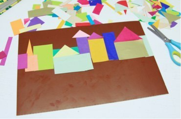 АППЛИКАЦИЯ ВЕЧЕРНИЙ ГОРОД Изготовление такой аппликации не только подарит сказочное настроение, но и послужит хорошим поводом для изучения или повторения геометрических фигур. Да и практичную