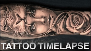 TATTOO TIME LAPSE | LION ROSE GIRL PORTRAIT | CHRISSY LEE