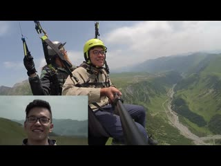 Review our guest from China on a paraglider tour in Gudauri Georgia with SkyAtlantida Team