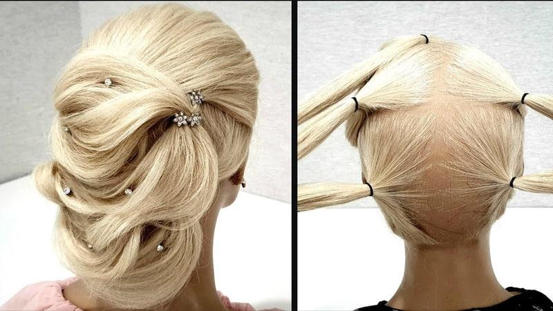 Быстрая Объемная вечерняя прическа из резинок Пошагово Fast Volumetric Vespers hairdo Step by step