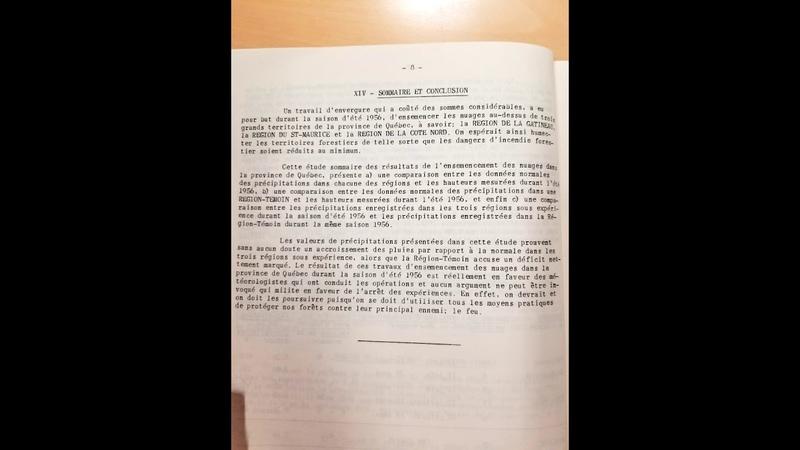 1957 Étude Sommaire de l'Ensemencement des Nuages dans la Province de Québec en 1956