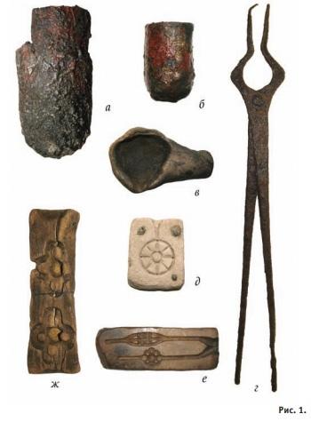 а-в – тигли и льячки; г – тигельные клещи; д-е – каменные литейные формы; ж – деревянная литейная форма XIII в.