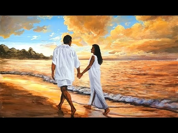 [NICE] Easy Painting and Learn to Color a Walking Couples on the Beach at Sunset Art Beauty