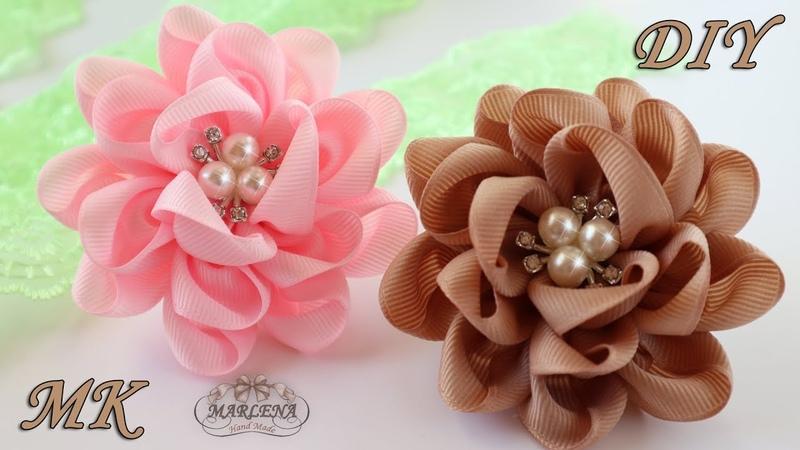 🌸 Цветы-банты из репсовых лент. Резиночки для волос. Канзаши МК/DIY