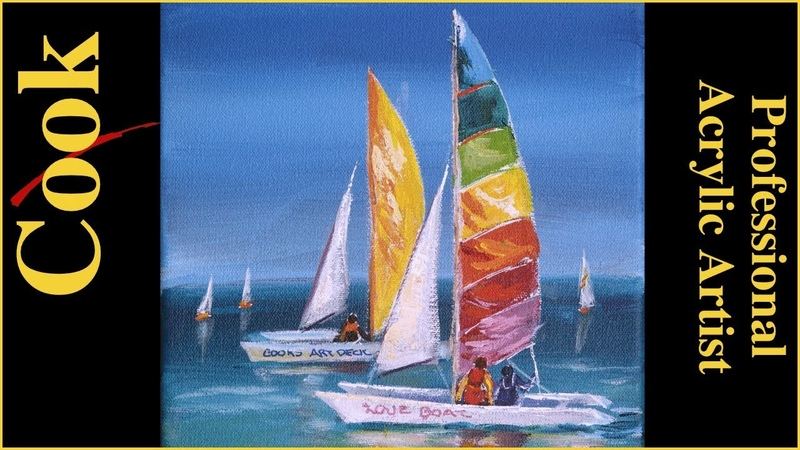 Paint the Colors of Summer with Hobie Cat Sailboats Acrylic Painting Tutorial with Ginger Cook